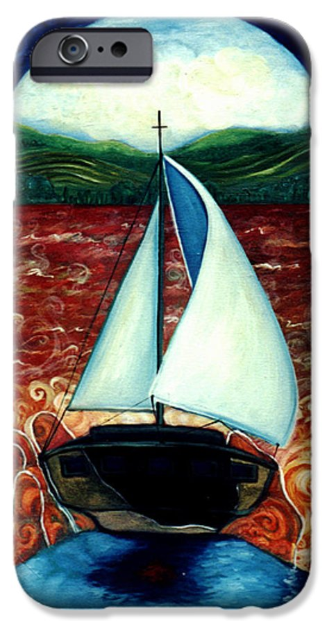 Sailboat IPhone 6s Case featuring the painting Beyond These Shores by Teresa Carter