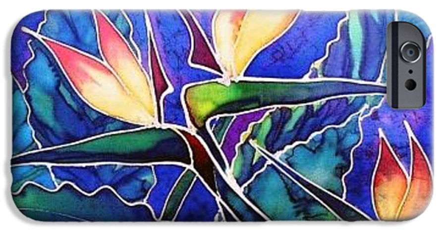 Silk Painting IPhone 6s Case featuring the painting Birds Of Paradise II by Francine Dufour Jones