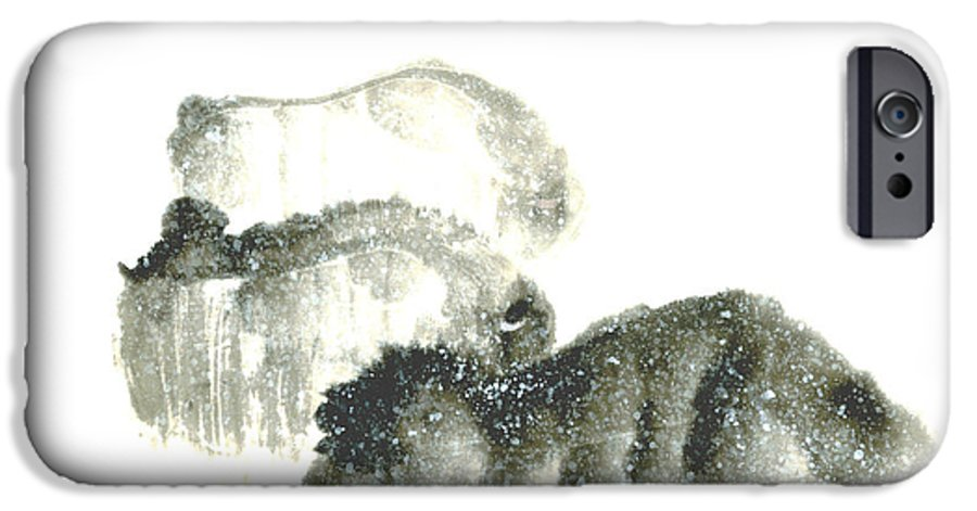 A Herd Of Bison Grazing In Snow. This Is A Contemporary Chinese Ink And Color On Rice Paper Painting With Simple Zen Style Brush Strokes.  IPhone 6s Case featuring the painting Bison In Snow II by Mui-Joo Wee