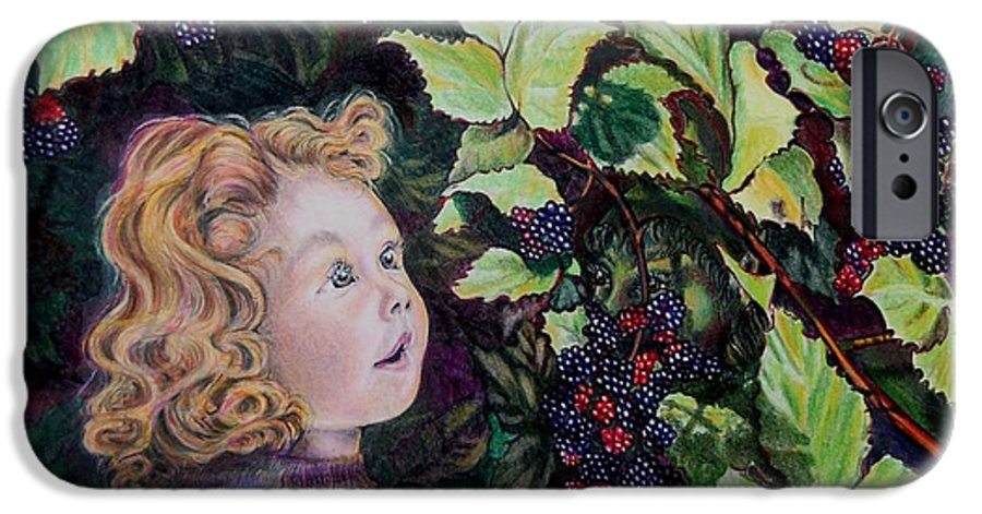 Blackberry IPhone 6s Case featuring the drawing Blackberry Elf by Susan Moore