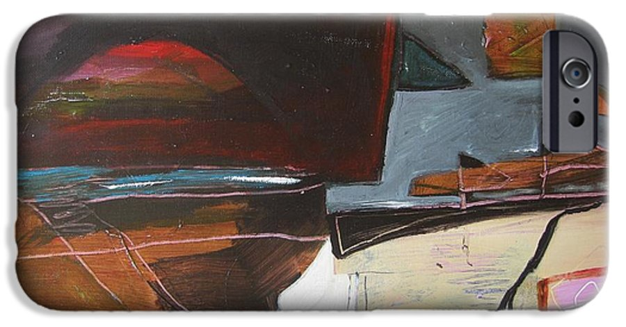 Abstract Atlantic Newfoundland Landscape Seascape Ocean Acrylic Paper Dusk Bonavista Canvas IPhone 6s Case featuring the painting Bonavista At Dusk by Seon-Jeong Kim