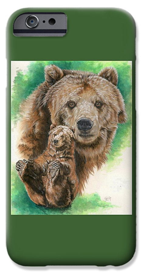 Bear IPhone 6s Case featuring the mixed media Brawny by Barbara Keith