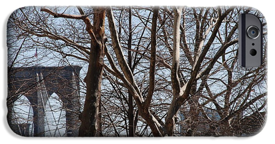 Architecture IPhone 6s Case featuring the photograph Brooklyn Bridge Thru The Trees by Rob Hans
