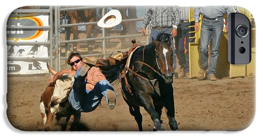 Cowboy IPhone 6s Case featuring the photograph Bulldogging At The Rodeo by Christine Till