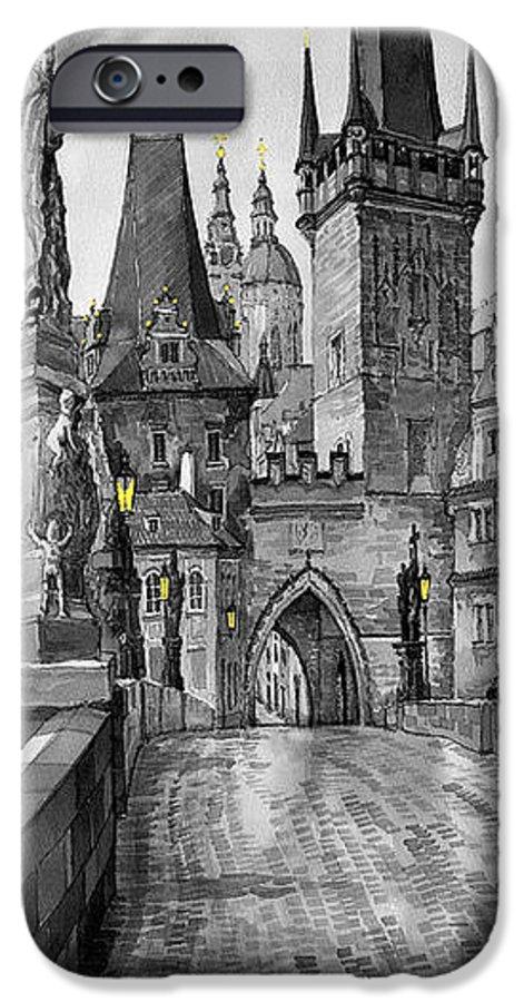 Prague IPhone 6s Case featuring the painting Bw Prague Charles Bridge 02 by Yuriy Shevchuk
