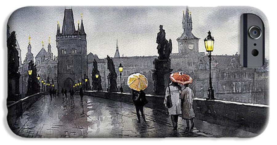 Prague IPhone 6s Case featuring the painting Bw Prague Charles Bridge 05 by Yuriy Shevchuk