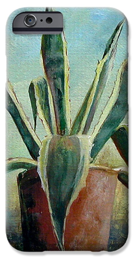 Flower IPhone 6s Case featuring the painting Cactus 2 by Muriel Dolemieux