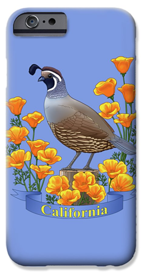 California IPhone 6s Case featuring the painting California Quail And Golden Poppies by Crista Forest