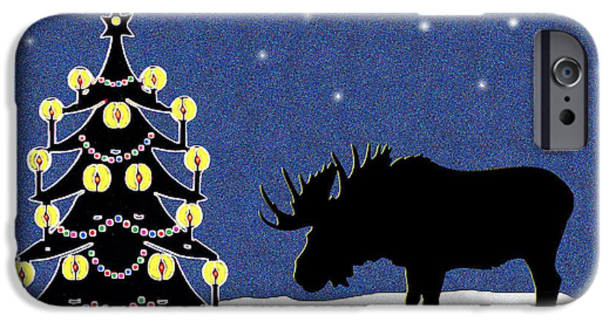 Moose IPhone 6s Case featuring the digital art Candlelit Christmas Tree And Moose In The Snow by Nancy Mueller
