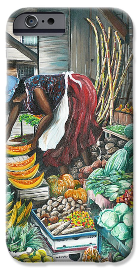 Caribbean Painting Market Vendor Painting Caribbean Market Painting Fruit Painting Vegetable Painting Woman Painting Tropical Painting City Scape Trinidad And Tobago Painting Typical Roadside Market Vendor In Trinidad IPhone 6s Case featuring the painting Caribbean Market Day by Karin Dawn Kelshall- Best