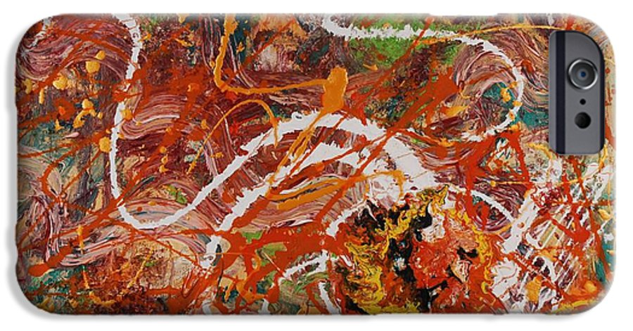 Orange IPhone 6s Case featuring the painting Celebration II by Nadine Rippelmeyer