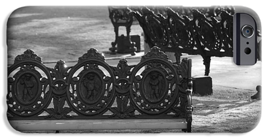 Black And White IPhone 6s Case featuring the photograph Cherb Benches by Rob Hans