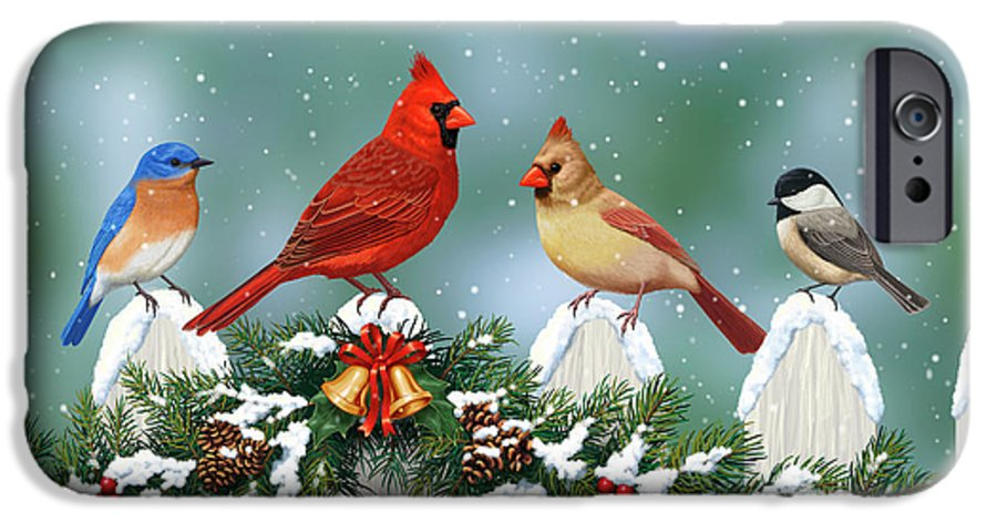 Birds IPhone 6s Case featuring the painting Christmas Birds And Garland by Crista Forest
