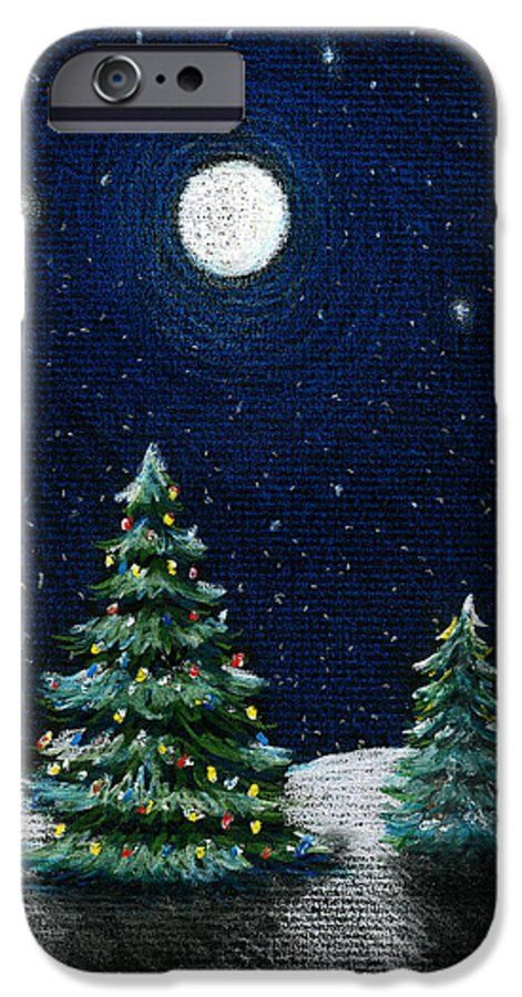 Christmas Trees IPhone 6s Case featuring the drawing Christmas Trees In The Moonlight by Nancy Mueller