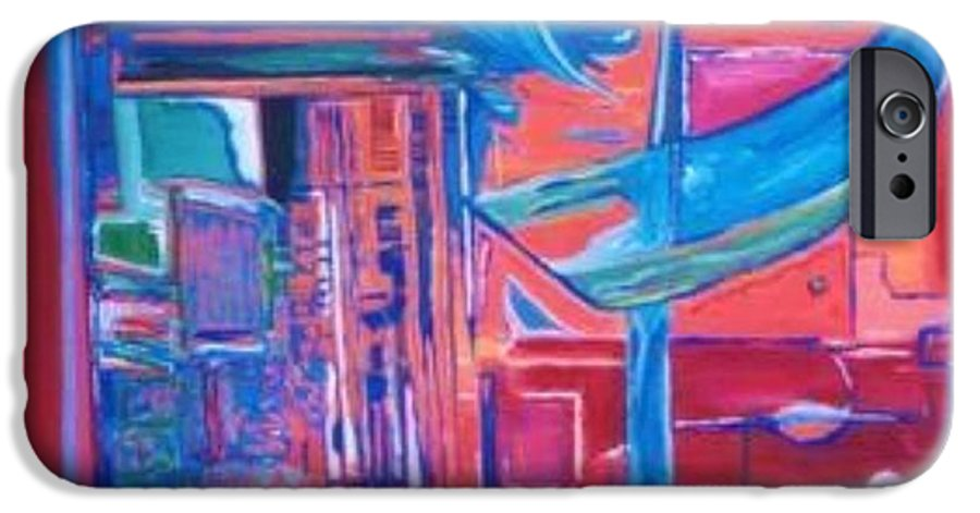 Red IPhone 6s Case featuring the painting Composicion Azul by Michael Puya