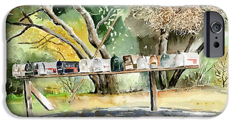 Mailboxes IPhone 6s Case featuring the painting Country Mailboxes by Arline Wagner