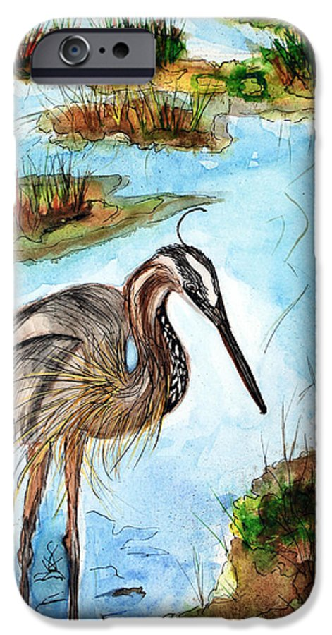 Birds IPhone 6s Case featuring the painting Crane In Florida Swamp by Margaret Fortunato