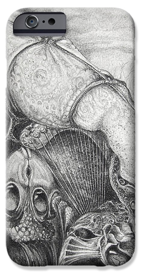 Surrealism IPhone 6s Case featuring the drawing Ctulhu Seedpods by Otto Rapp