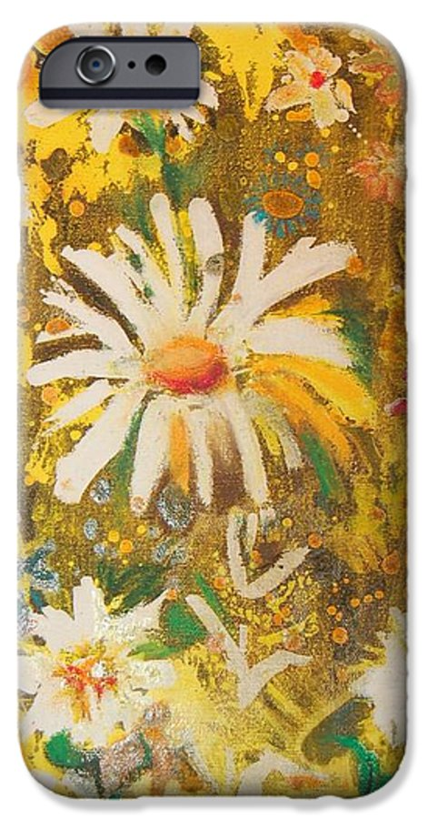 Floral Abstract IPhone 6s Case featuring the painting Daisies In The Wind Vii by Henny Dagenais