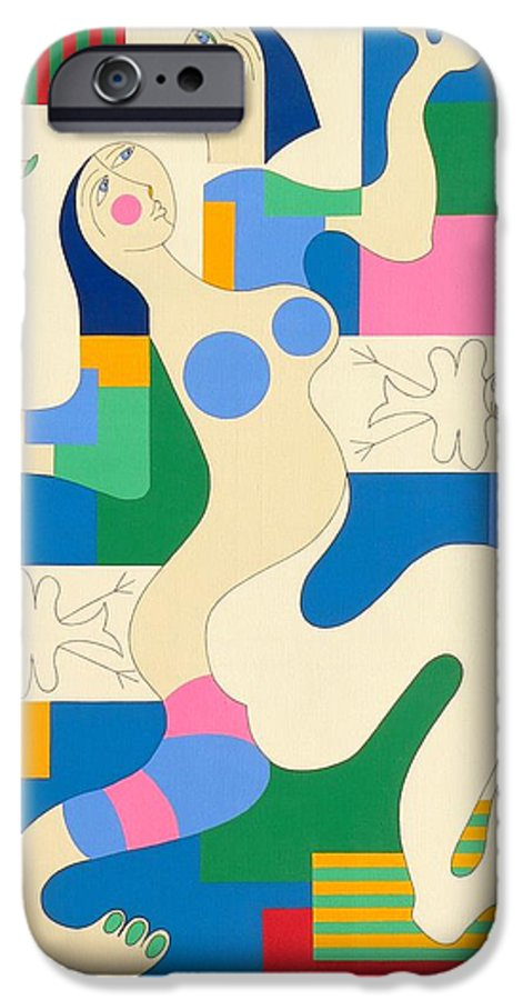 Modern Constructivisme People Birds Original Stylisme IPhone 6s Case featuring the painting Dancing by Hildegarde Handsaeme