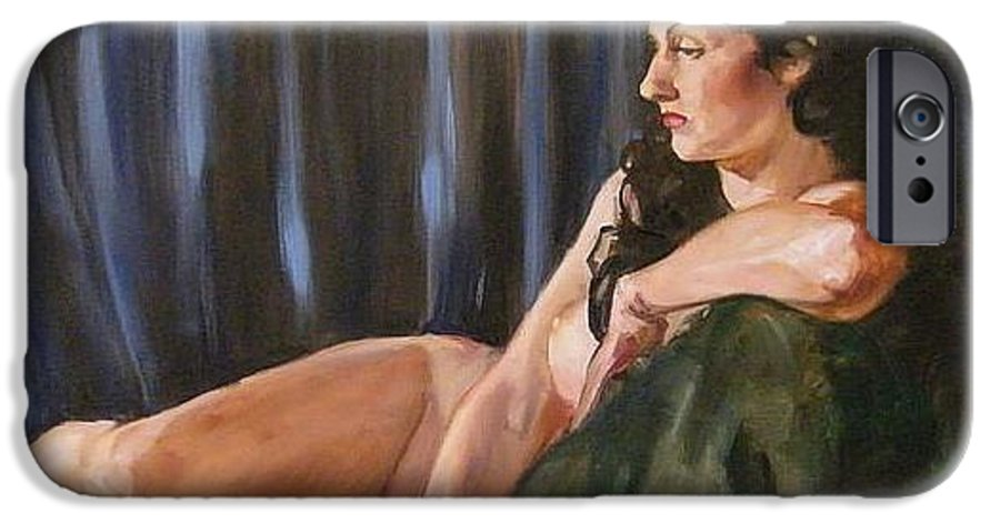 Nude IPhone 6s Case featuring the painting Dolly by Debra Jones