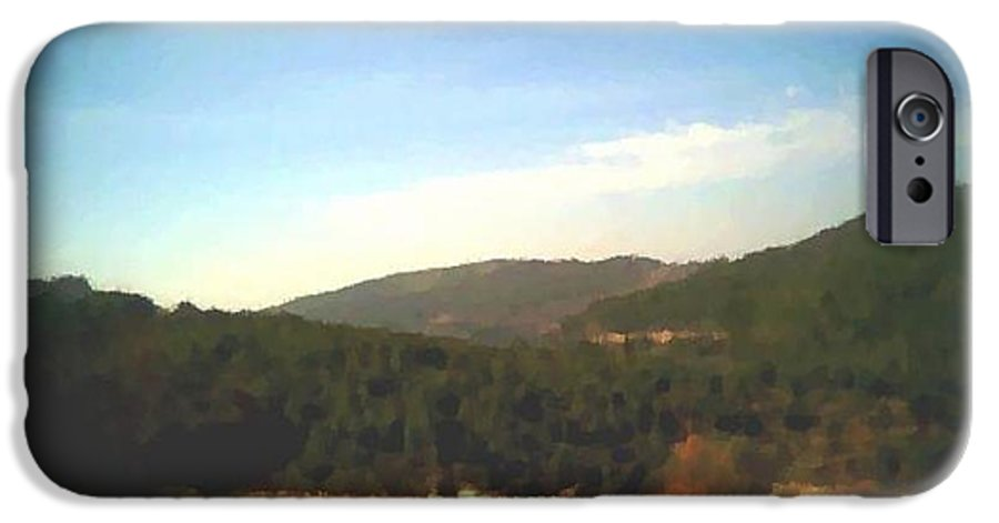 Sky.blue.little Clouds.foresty Hills.low Hills.forest.valley.trees.rest.silence.calm. IPhone 6s Case featuring the digital art Ein-kerem Valley by Dr Loifer Vladimir