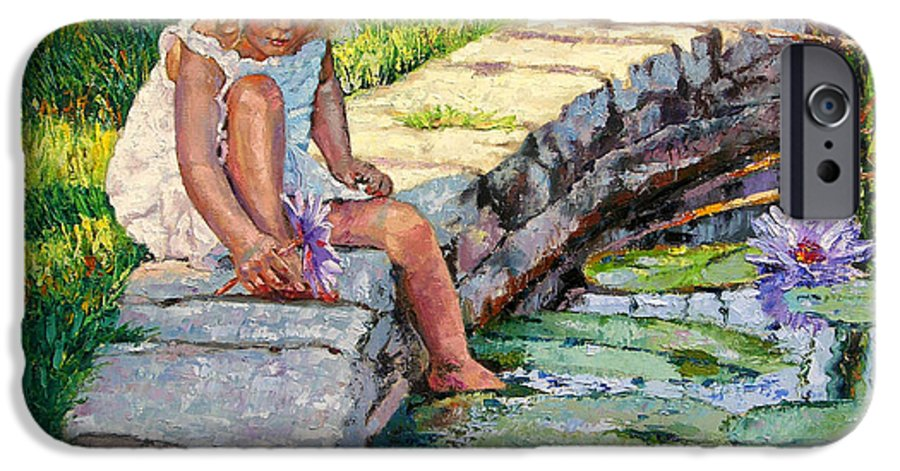 Small Girl IPhone 6s Case featuring the painting Enjoying Yesterdays Sunlight by John Lautermilch