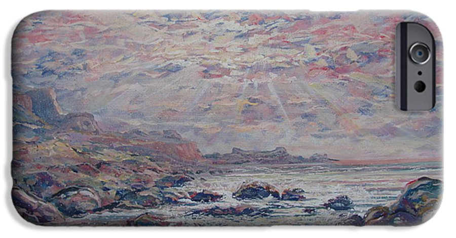 Seascape IPhone 6s Case featuring the painting Evening At The Beach by Leonard Holland