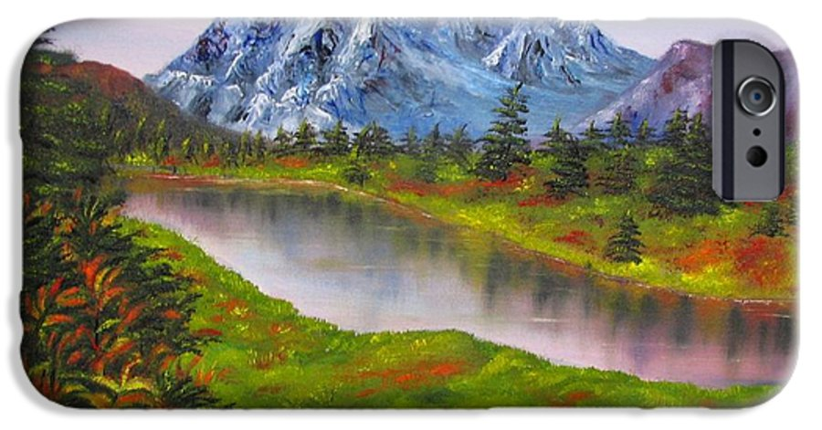 Fall IPhone 6s Case featuring the painting Fall In Mountains Landscape Oil Painting by Natalja Picugina
