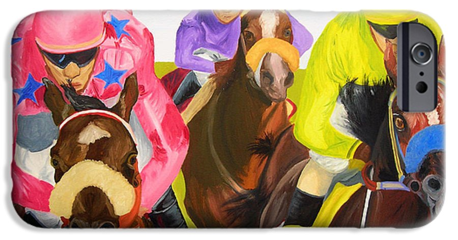 Horse Racing IPhone 6s Case featuring the painting Finish Line by Michael Lee