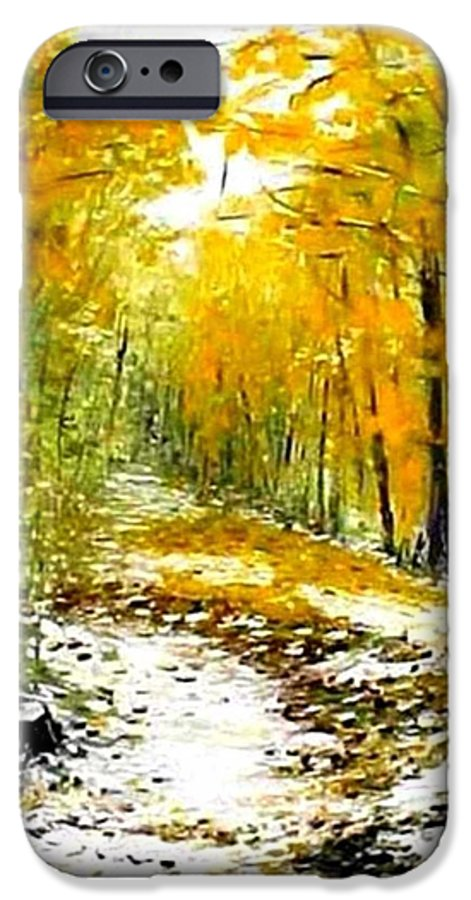 Landscape IPhone 6s Case featuring the painting First Snow by Boris Garibyan