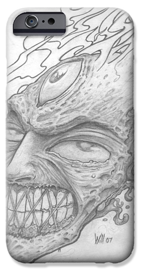 Zombie IPhone 6s Case featuring the drawing Flamehead by Will Le Beouf