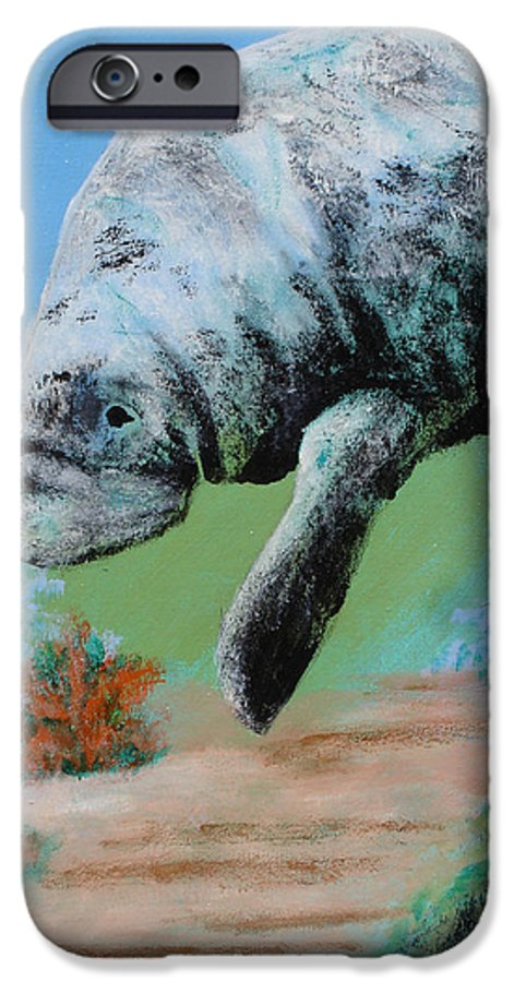 Florida IPhone 6s Case featuring the painting Florida Manatee by Susan Kubes