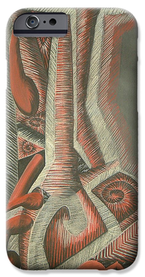 Abstract IPhone 6s Case featuring the drawing Foot by Donald Burroughs
