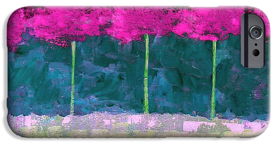Abstract IPhone 6s Case featuring the painting Fuschia Trees by Ruth Palmer