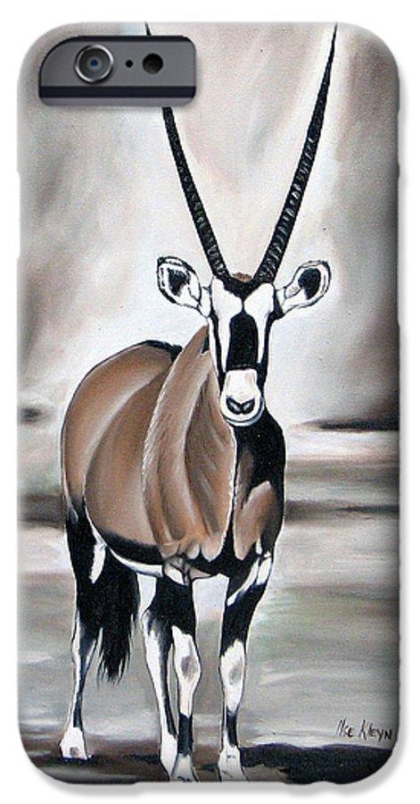 Gemsbok IPhone 6s Case featuring the painting Gemsbok - Solitude by Ilse Kleyn