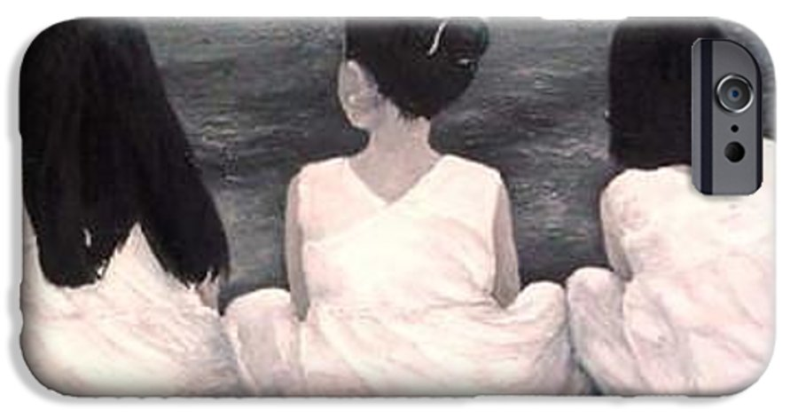 Girls IPhone 6s Case featuring the painting Girls In White At The Beach by Patricia Awapara