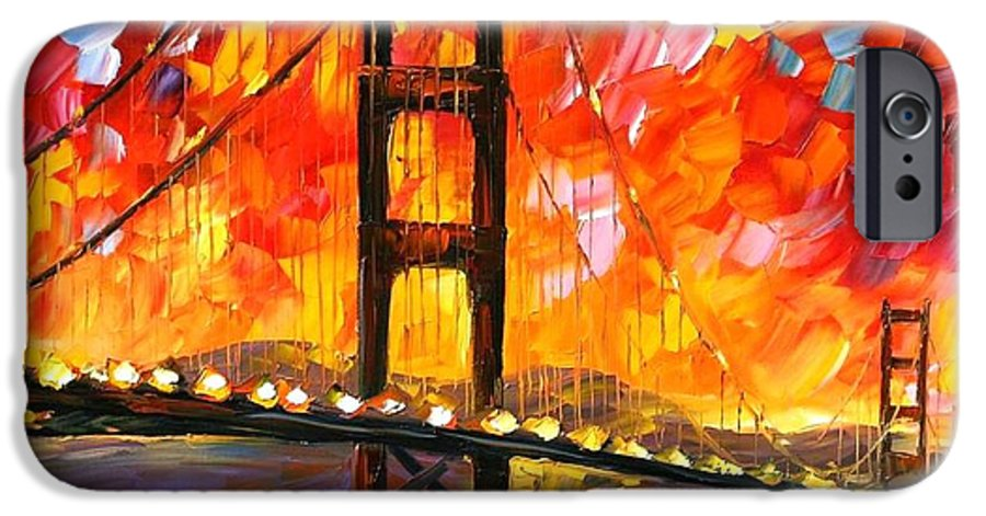 City IPhone 6s Case featuring the painting Golden Gate Bridge by Leonid Afremov