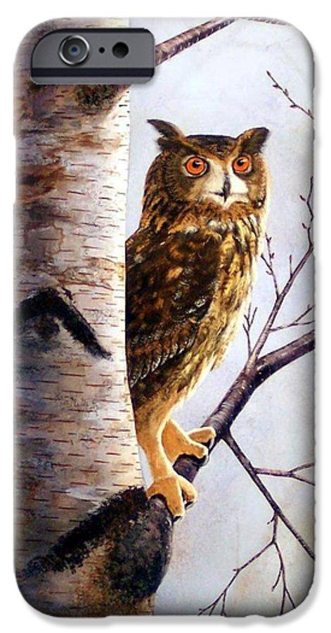 Great Horned Owl In Birch IPhone 6s Case featuring the painting Great Horned Owl In Birch by Frank Wilson