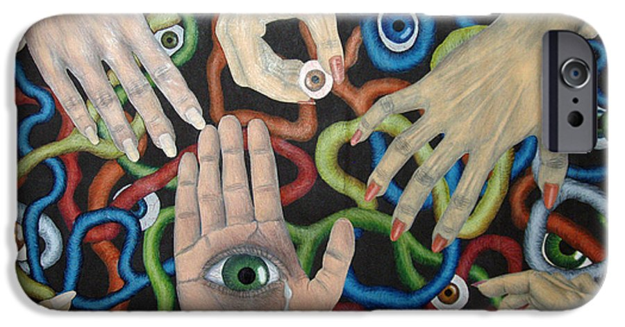 Collage IPhone 6s Case featuring the drawing Hands And Eyes by Nancy Mueller