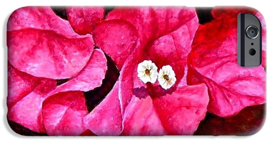 Oil IPhone 6s Case featuring the painting Hot Pink Bougainvillea by Darla Brock