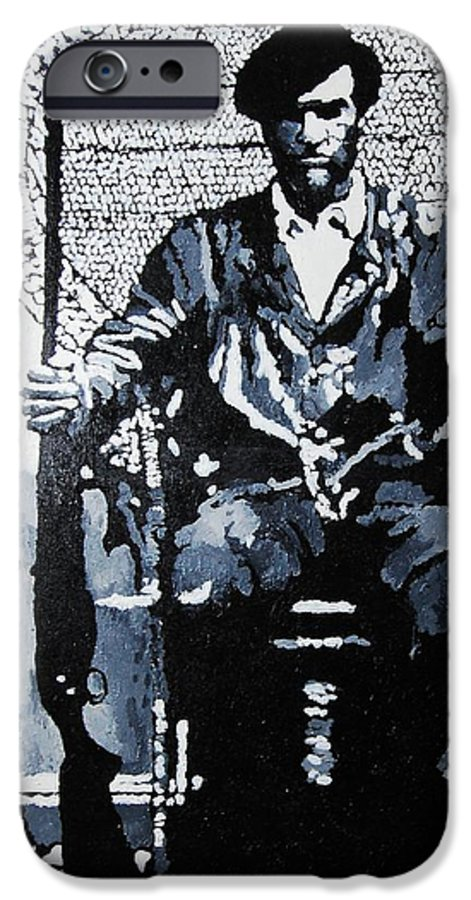 Black Panther IPhone 6s Case featuring the painting Huey Newton Minister Of Defense Black Panther Party by Lauren Luna