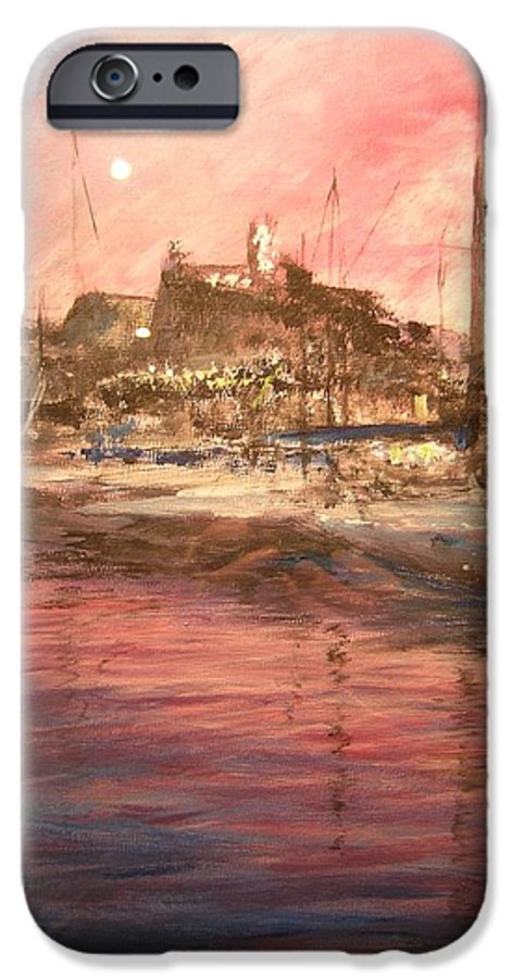 Yachts IPhone 6s Case featuring the painting Ibiza Old Town At Sunset by Lizzy Forrester