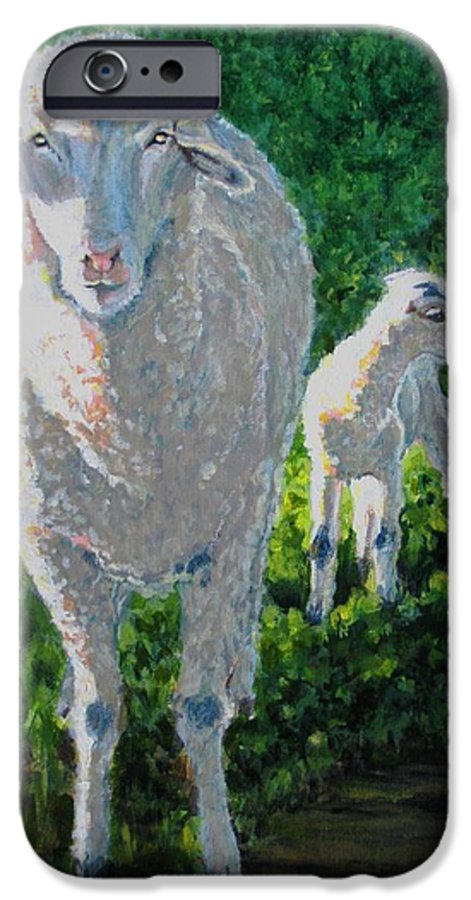 Sheep IPhone 6s Case featuring the painting In Sheep's Clothing by Karen Ilari