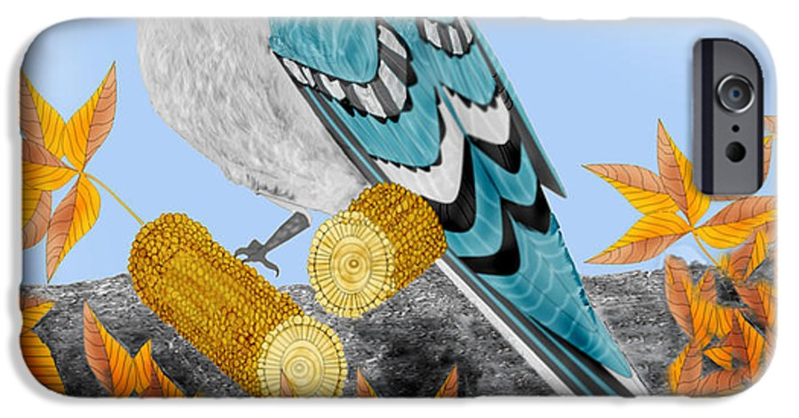 Jay Bird IPhone 6s Case featuring the painting Jay With Corn And Leaves by Anne Norskog