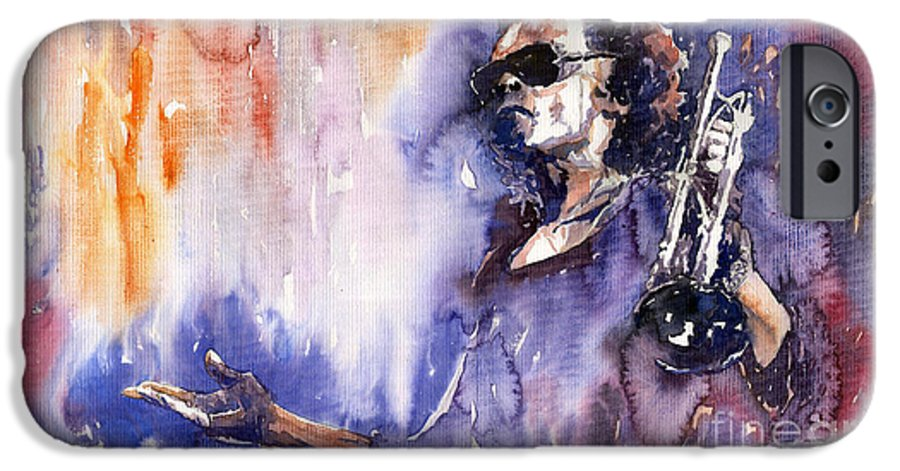 Jazz IPhone 6s Case featuring the painting Jazz Miles Davis 14 by Yuriy Shevchuk