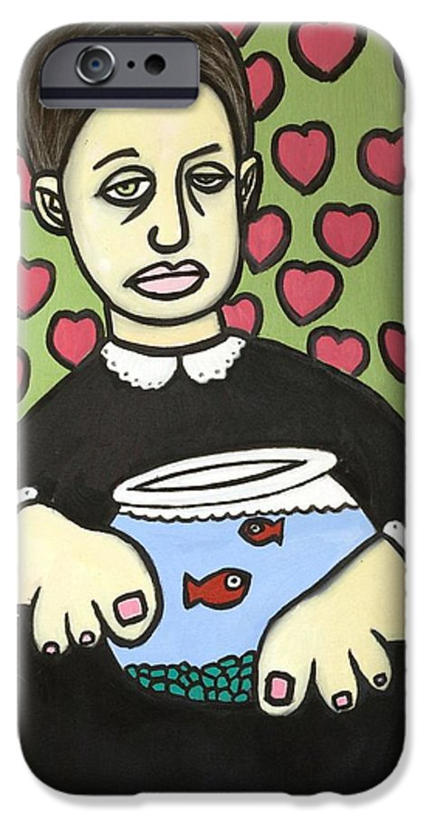 IPhone 6s Case featuring the painting Lady With Fish Bowl by Thomas Valentine