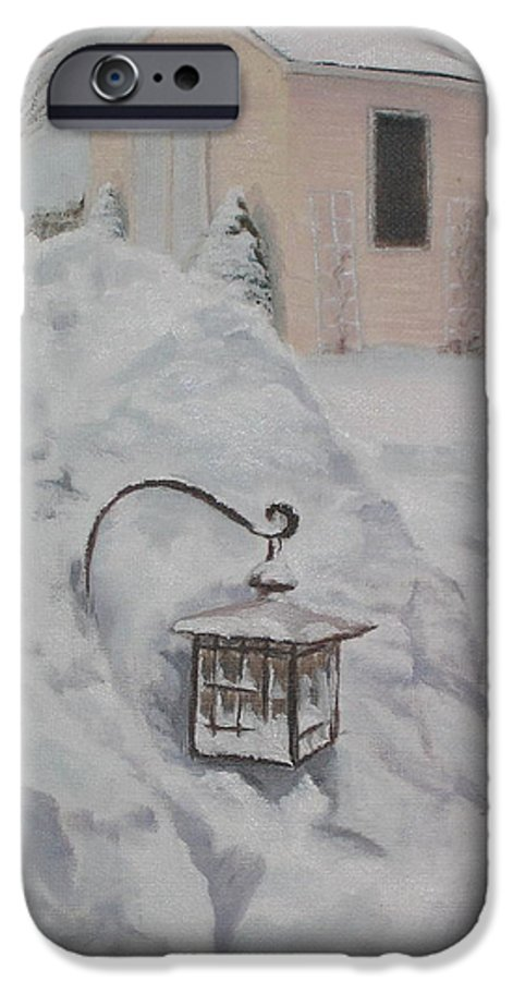 Snow IPhone 6s Case featuring the painting Lantern In The Snow by Lea Novak