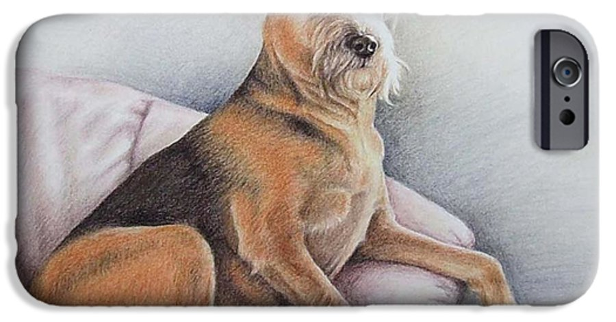 Dog IPhone 6s Case featuring the pastel Lena by Nicole Zeug