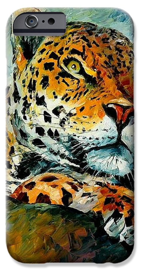 Animals IPhone 6s Case featuring the painting Leopard by Leonid Afremov